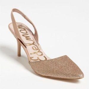 Sam Edelman Orly Glitter Sling Back Heels Gold